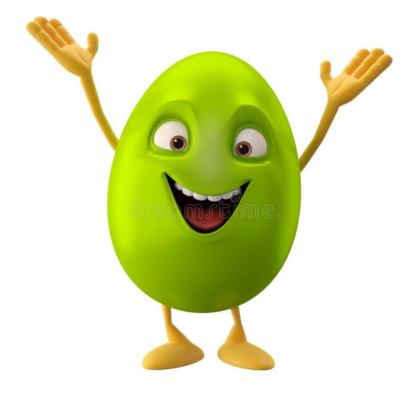 微笑的复活节彩蛋,滑稽的3D漫画人物,挥动的手,招呼 皇族释放例证