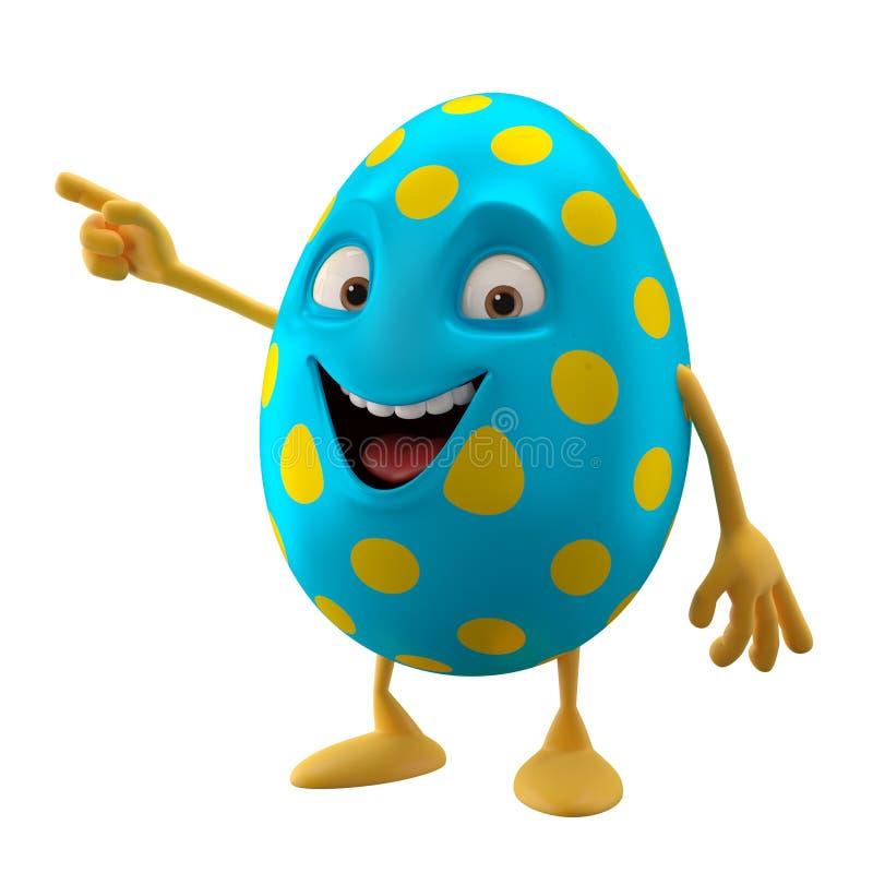 微笑的复活节彩蛋,滑稽的3D漫画人物,显示手 库存例证