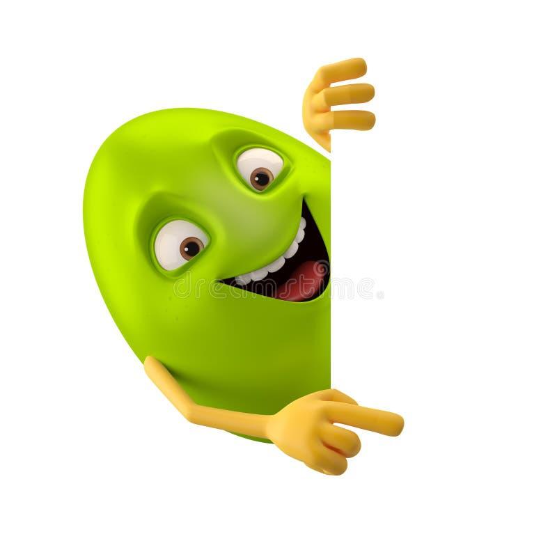微笑的复活节彩蛋,滑稽的3D绿色漫画人物,显示手 向量例证