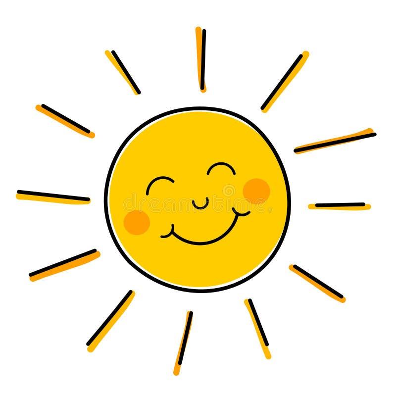 微笑的太阳传染媒介 向量例证