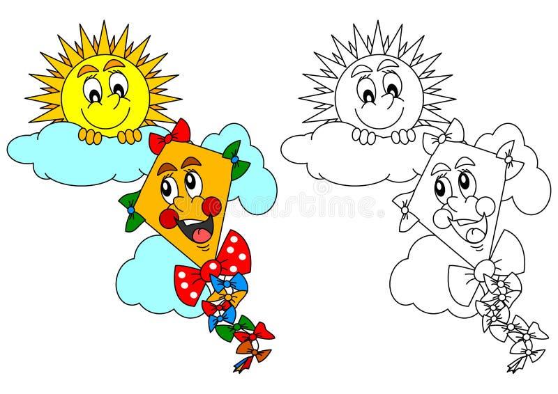 微笑的太阳和风筝作为着色孩子的-例证 向量例证