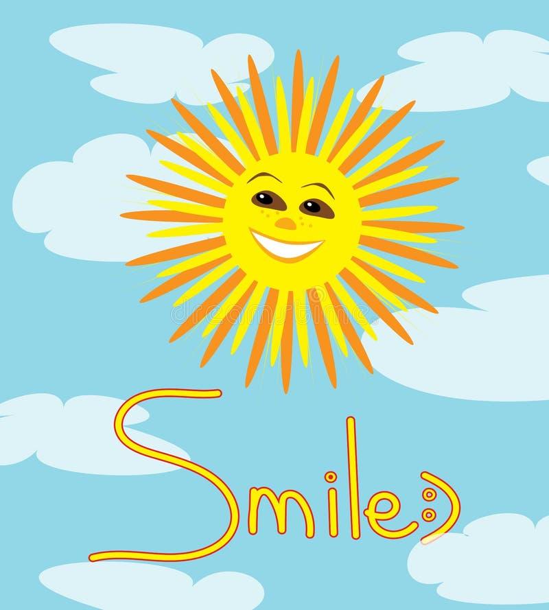 微笑的太阳的传染媒介正面例证 皇族释放例证