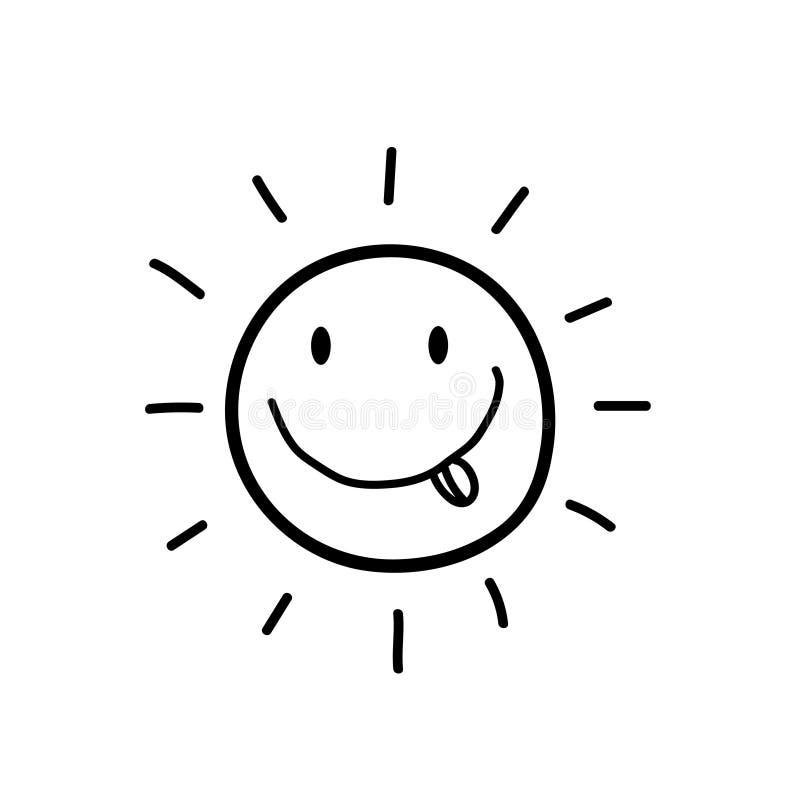 微笑的太阳黑剪影与舌头象的 皇族释放例证