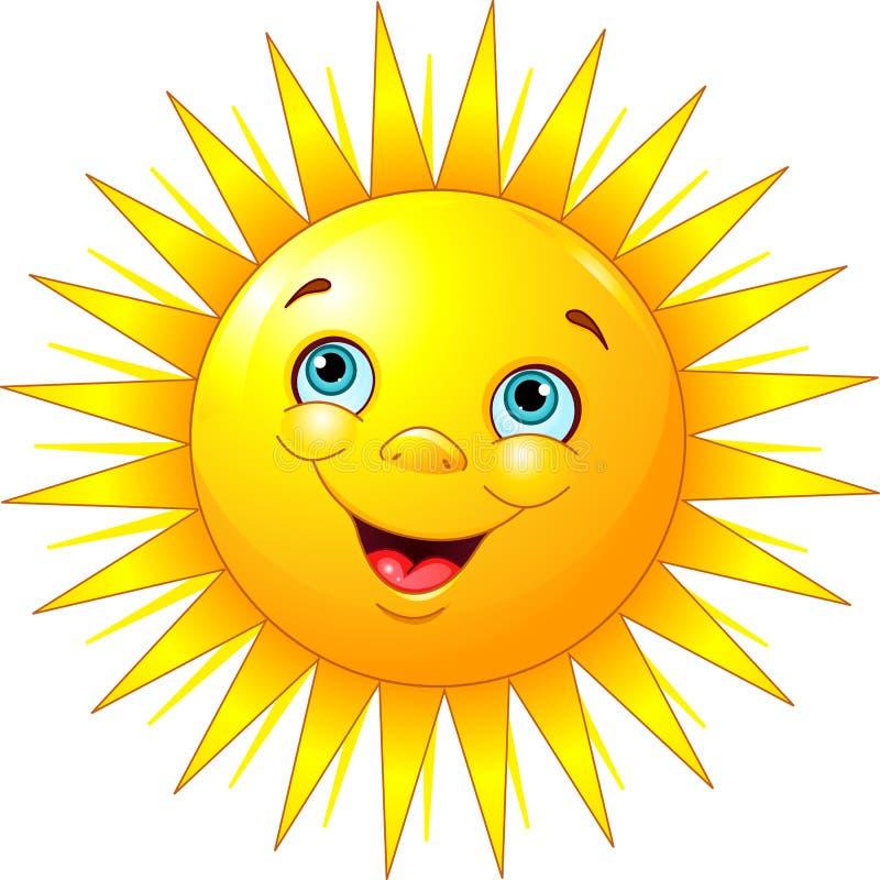微笑的太阳 向量例证