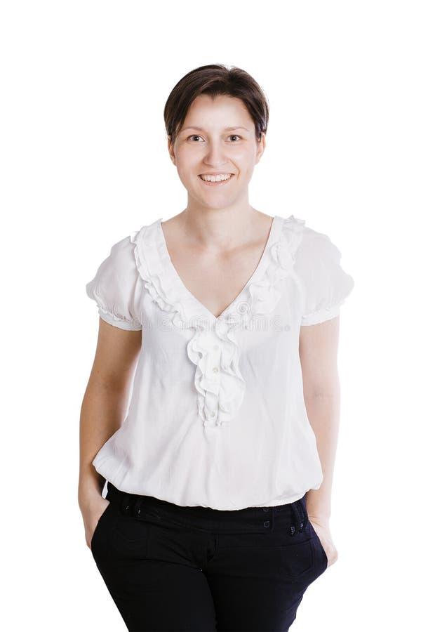 微笑的女商人。隔绝在白色 免版税库存照片