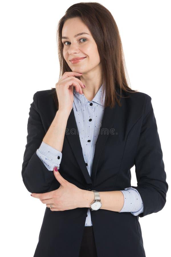 微笑的女商人认为 图库摄影