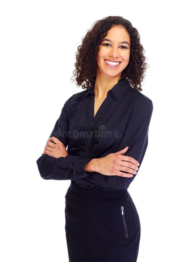 年轻微笑的女商人画象 免版税库存照片