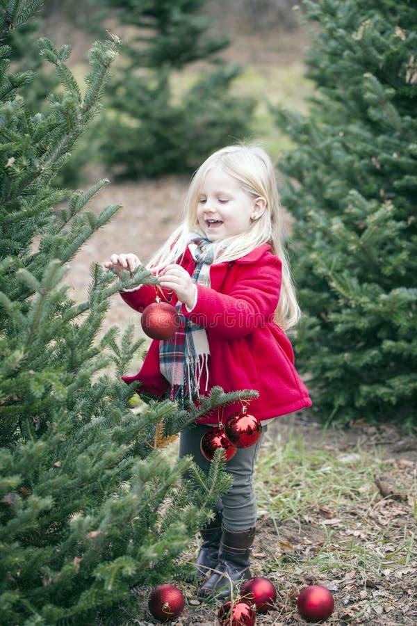 微笑的女孩垂悬的中看不中用的物品画象在树的 免版税图库摄影
