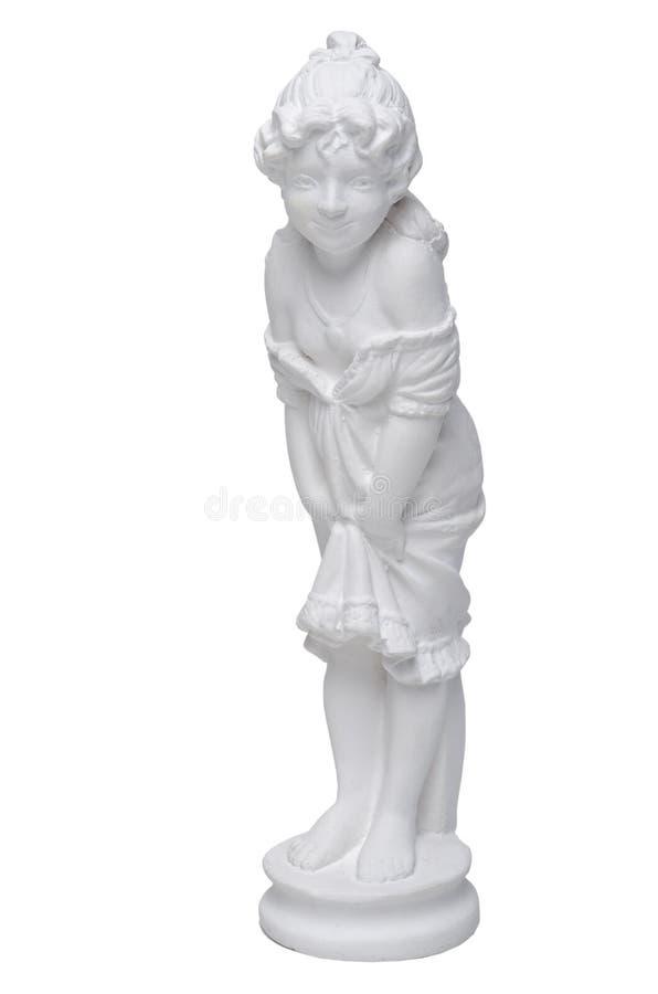 微笑的女孩的白色膏药雕塑 图库摄影
