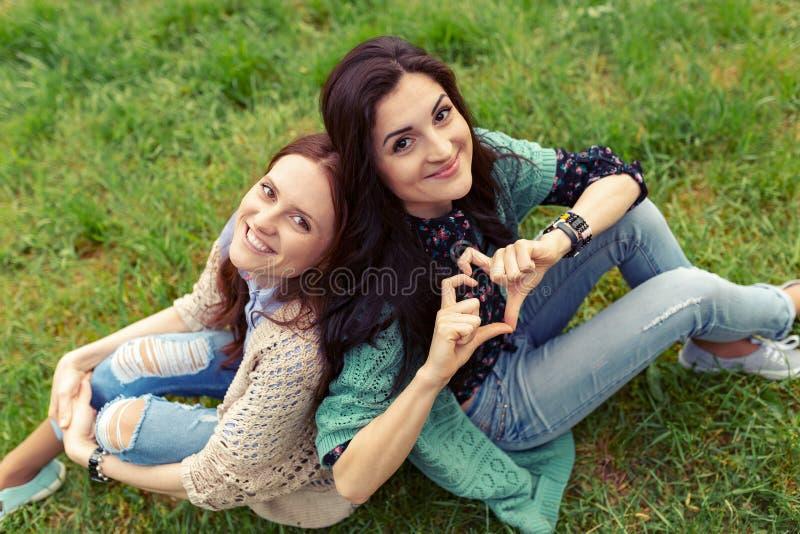 微笑的女孩紧接坐草 库存照片