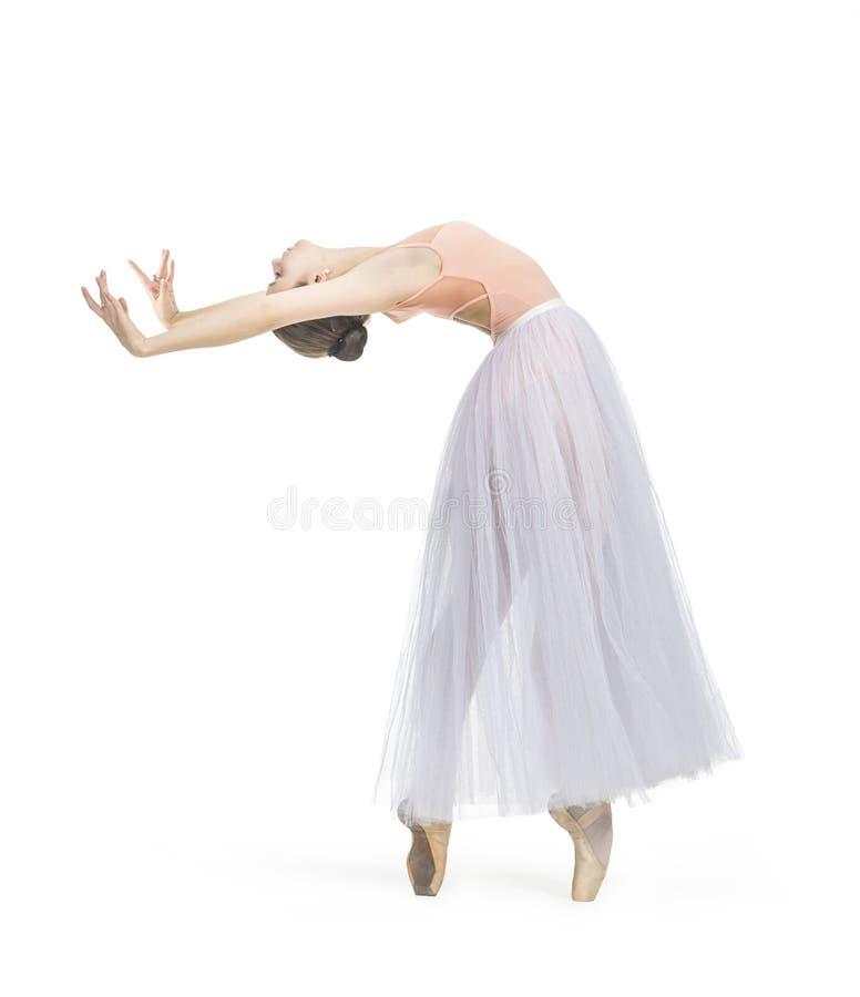 年轻微笑的女孩跳舞芭蕾 免版税库存图片