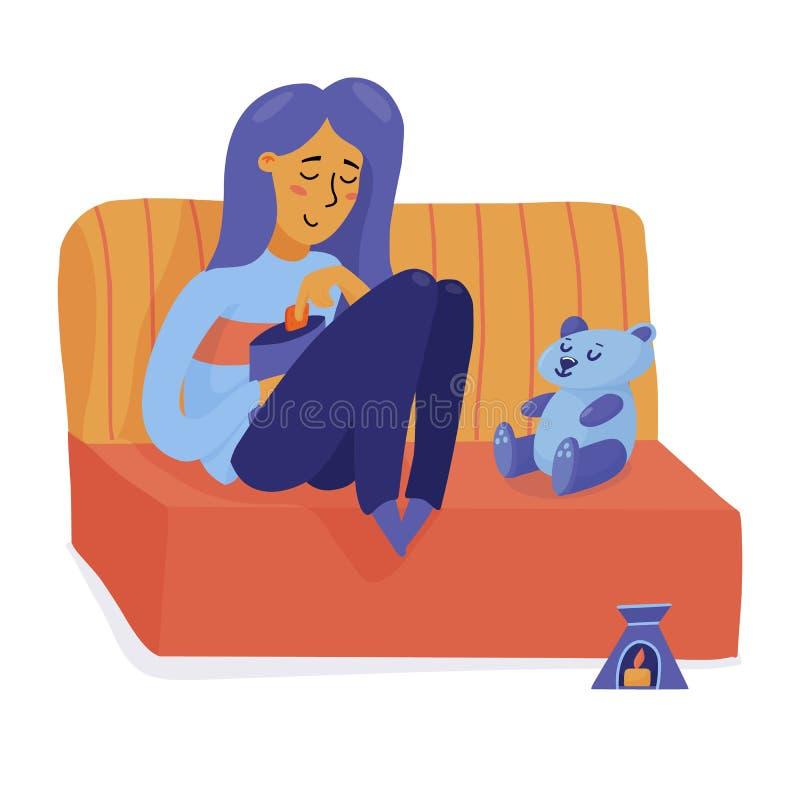 微笑的女孩,放松在沙发,愉快单独的妇女 库存例证