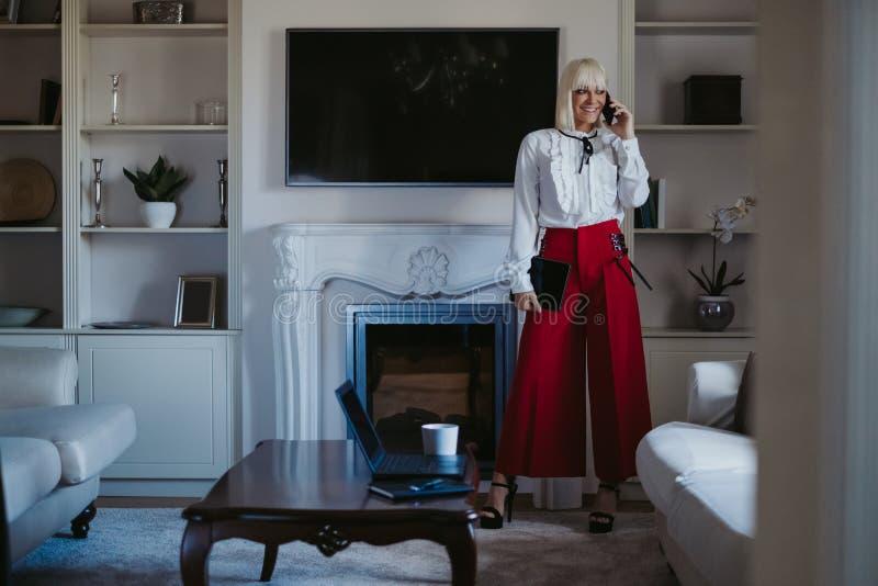 微笑的女实业家谈话在电话在客厅 库存图片