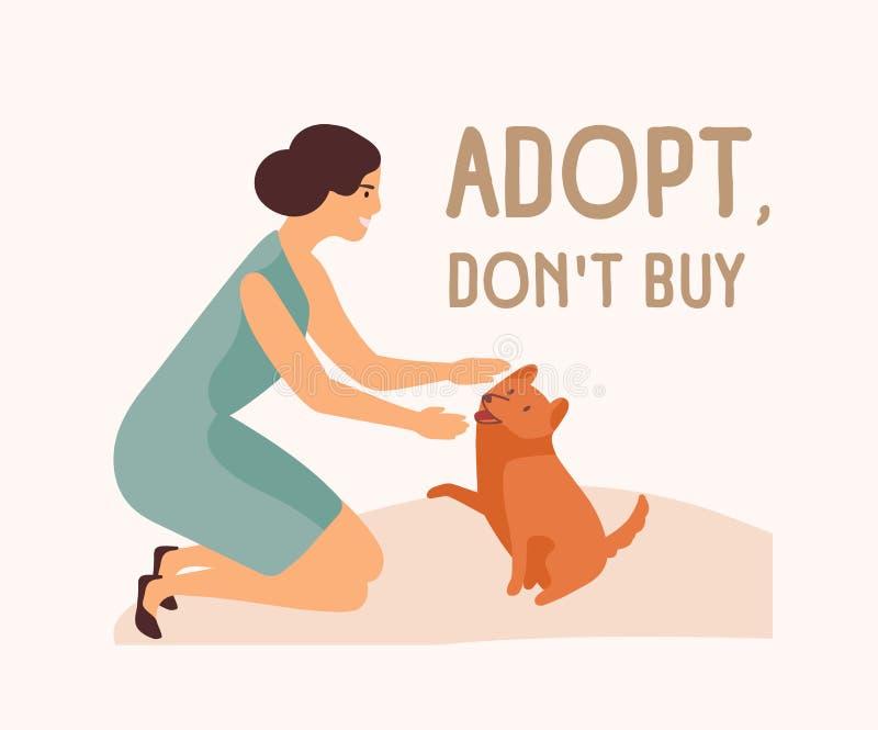 微笑的妇女、可爱的嬉戏的狗和Adopt不买口号 离群和无家可归的动物的收养从避难所的 库存例证