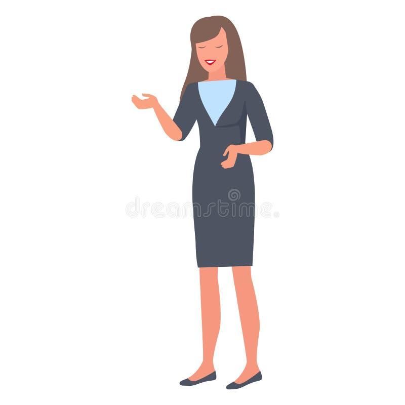 微笑的妇女姿态用在谈话传染媒介期间的人工 皇族释放例证