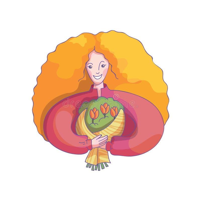 微笑的妇女抽象图画有郁金香花花束的  国际妇女s天卡片的传染媒介 向量例证