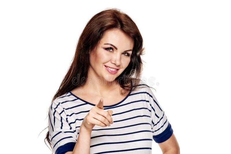 微笑的妇女挥动 库存照片
