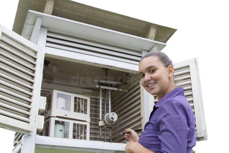 微笑的妇女气象学家 免版税图库摄影