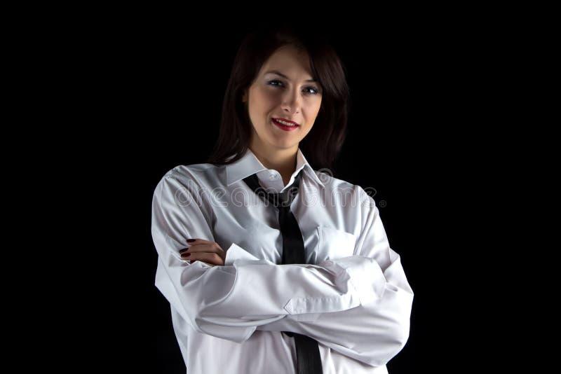 微笑的妇女照片人的衬衣的 免版税库存图片