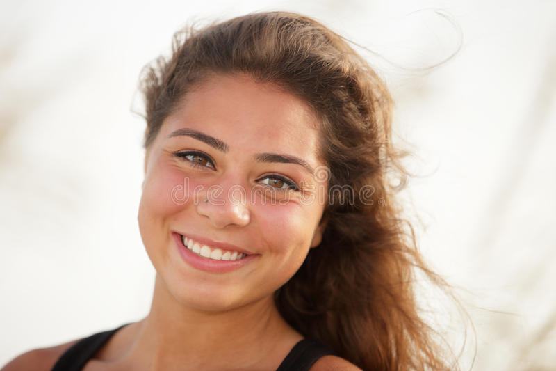微笑的妇女特写 库存图片
