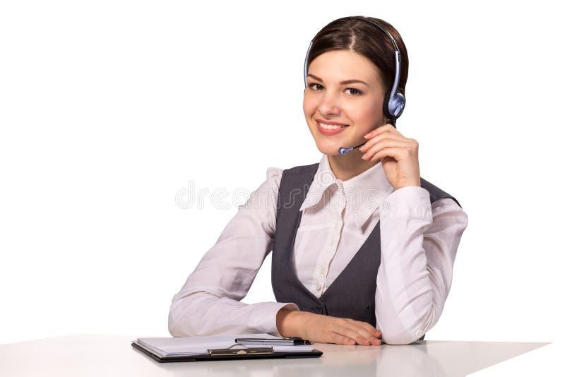 微笑的妇女 客户女性耳机运算符技术支持 库存照片