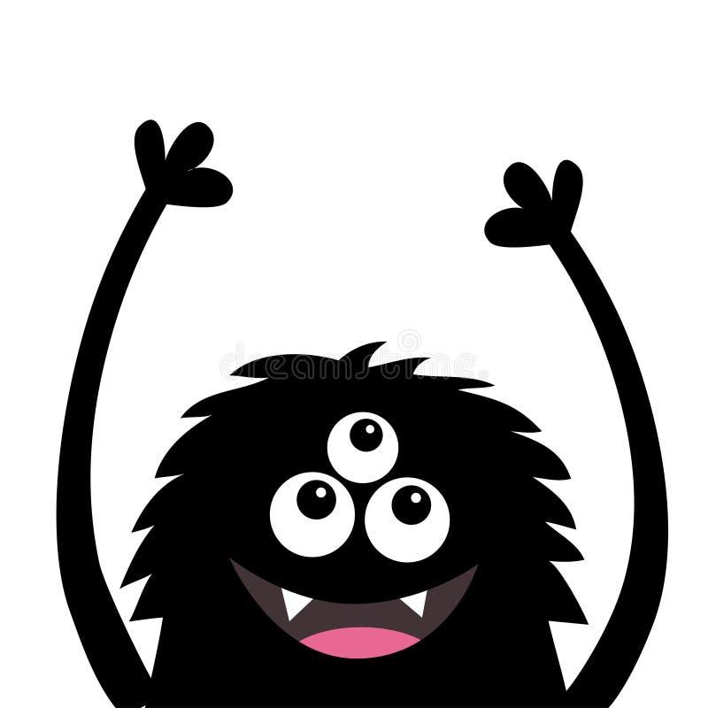 微笑的妖怪顶头剪影 Thtee注视,牙,舌头,蓬松头发,手  黑滑稽的逗人喜爱的漫画人物 婴孩collec 皇族释放例证