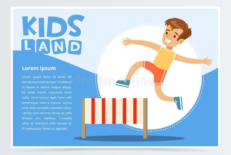微笑的嬉戏男孩跳跃的障碍,孩子登陆网站或流动app的横幅平的传染媒介元素 向量例证