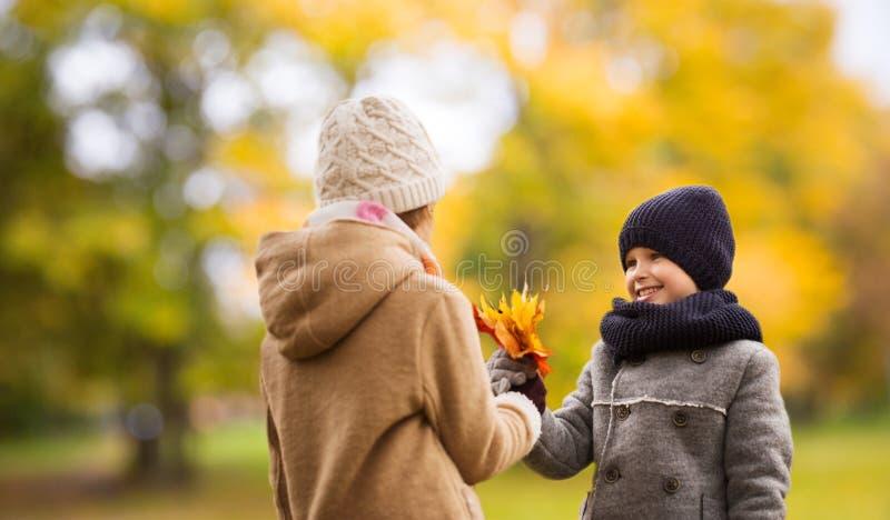 微笑的孩子在秋天公园 免版税图库摄影