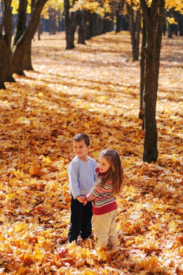 微笑的孩子步行在秋天公园 图库摄影