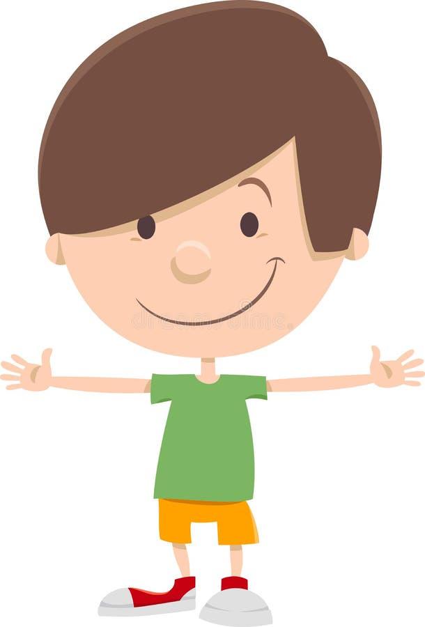 微笑的孩子男孩漫画人物 向量例证