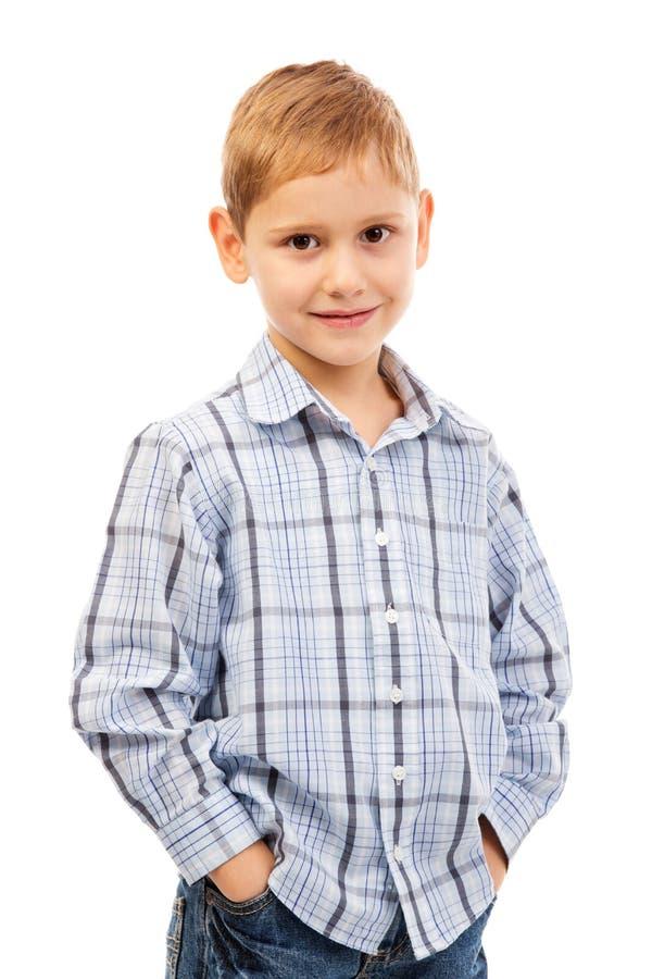 微笑的孩子纵向  免版税库存图片