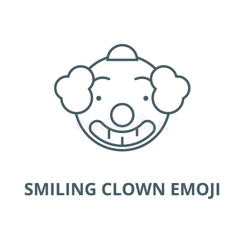 微笑的小丑emoji传染媒介线象,线性概念,概述标志,标志 向量例证