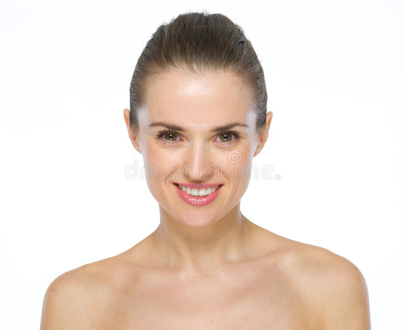 微笑的少妇秀丽画象  免版税库存照片