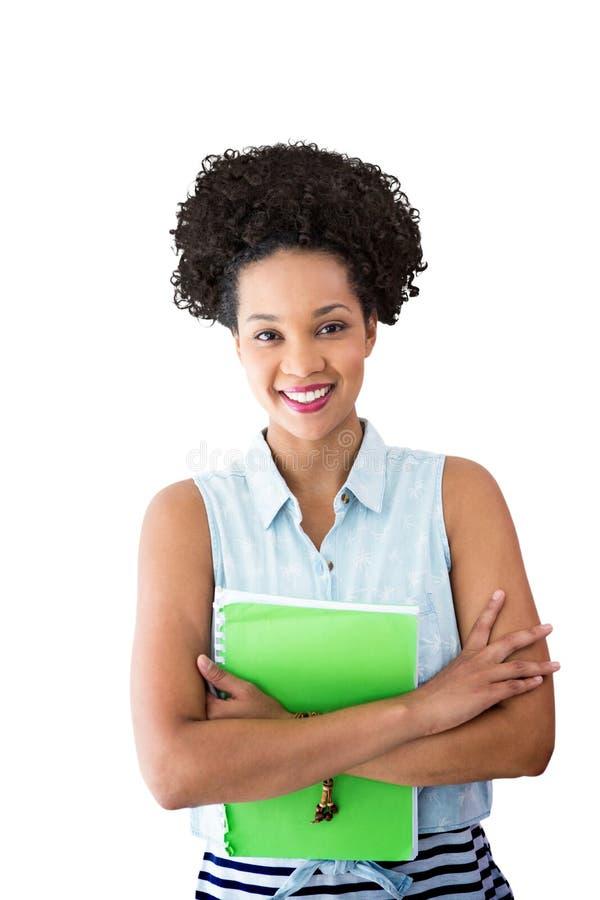 微笑的少妇画象的综合图象有文件的 免版税库存照片