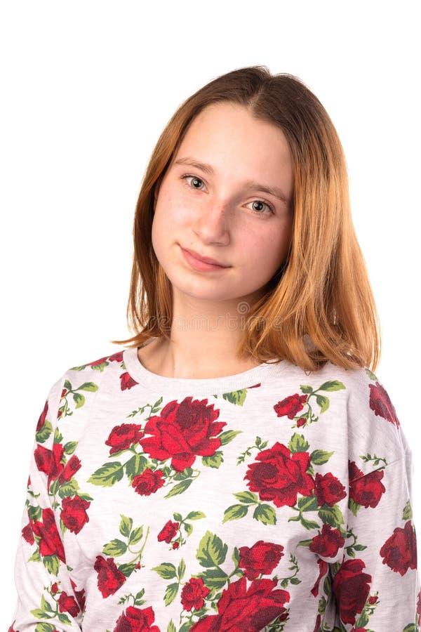 年轻微笑的少年女孩 免版税库存照片