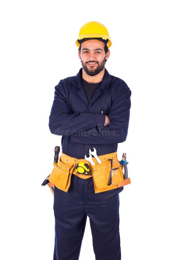 微笑的工作者年轻人 免版税库存图片