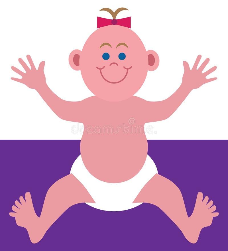微笑的平的传染媒介动画片婴孩 向量例证