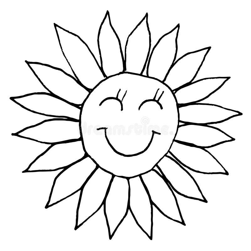 微笑的年轻太阳 手图画剪影 在白色背景的黑概述 r 向量例证