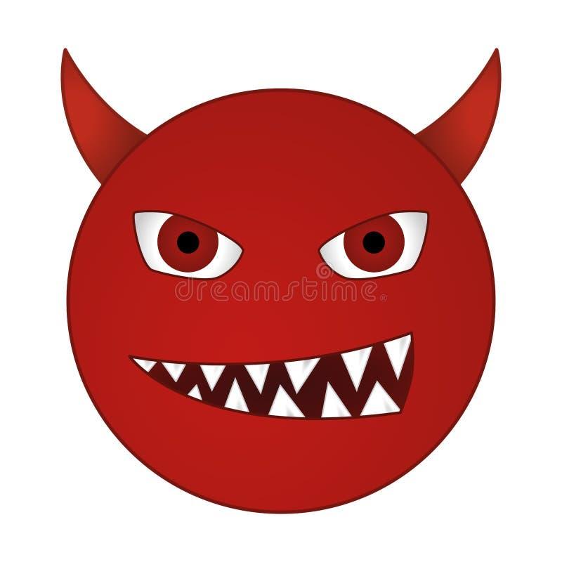 微笑的恶魔意思号/咧嘴笑的红色邪魔面带笑容-导航emoji 皇族释放例证