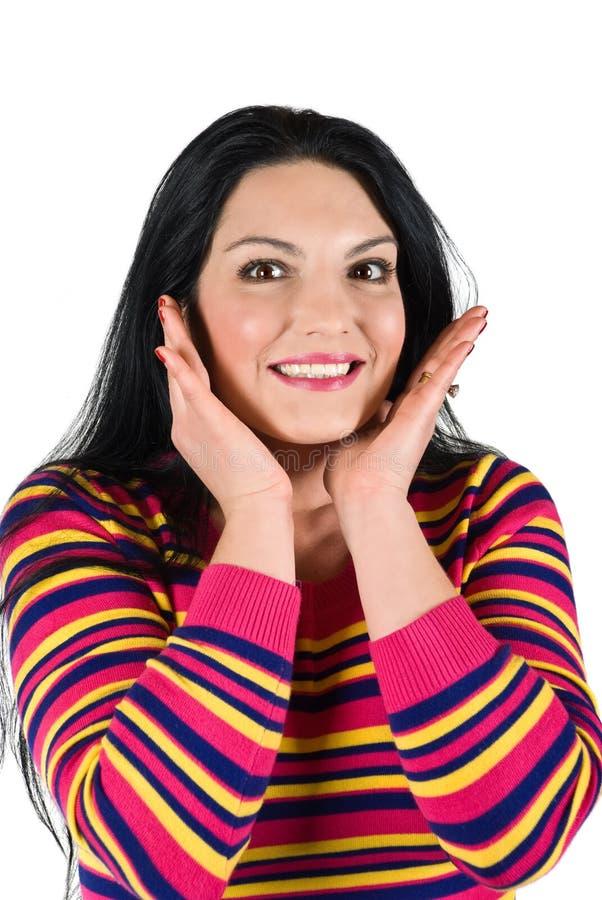 微笑的惊奇的妇女 免版税库存图片