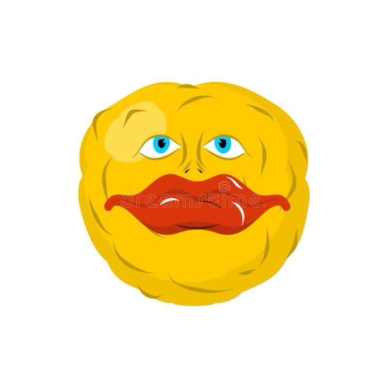 微笑的意思号 疯狂的emoji 愉快的是情感 黄色球 库存例证