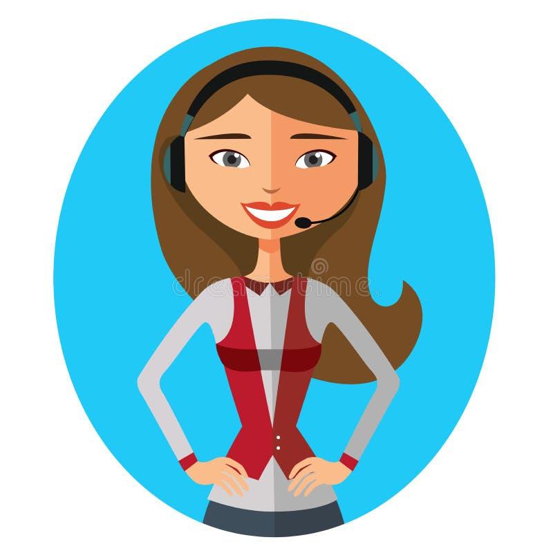 微笑的支持电话女性操作员传染媒介illustrati的图象 向量例证