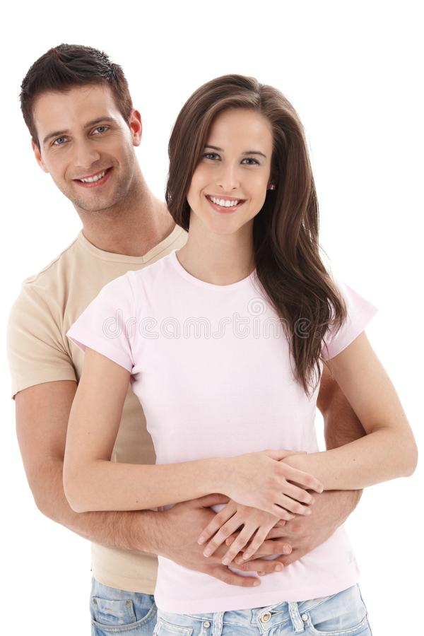 微笑的新夫妇 免版税库存图片