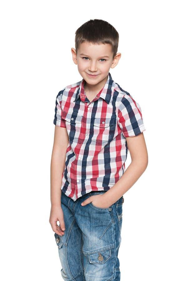 微笑的时尚年轻人男孩 图库摄影