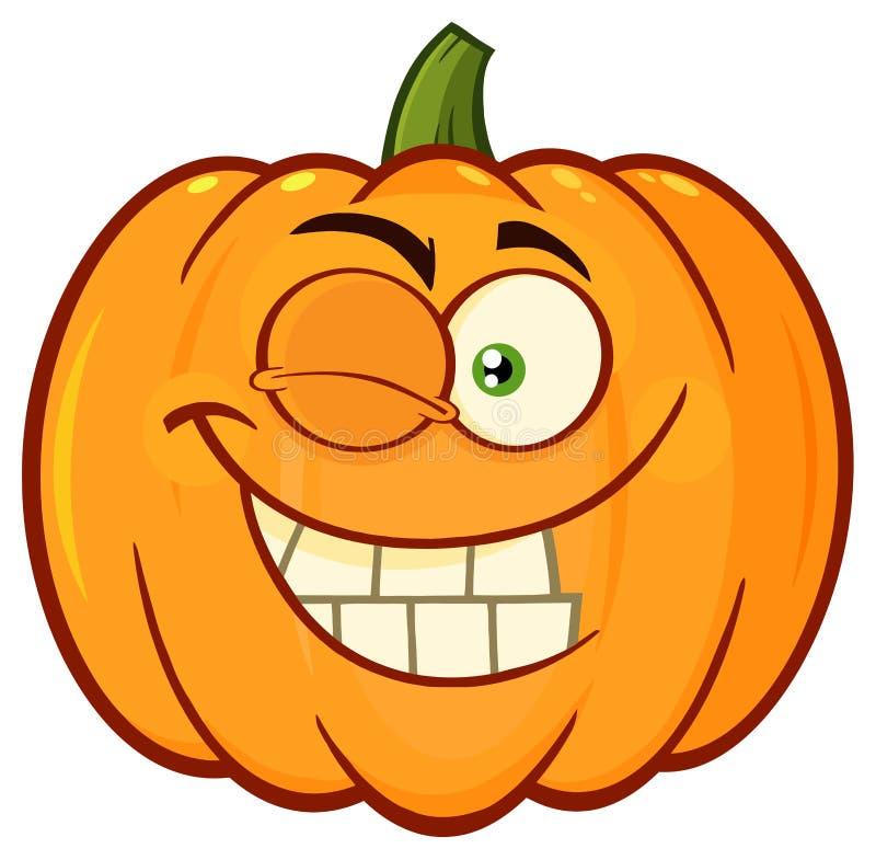 微笑的橙色南瓜菜动画片Emoji面对与闪光表示的字符 库存例证