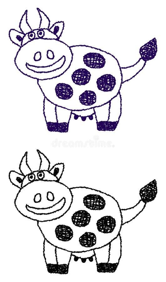 微笑的母牛外形 皇族释放例证