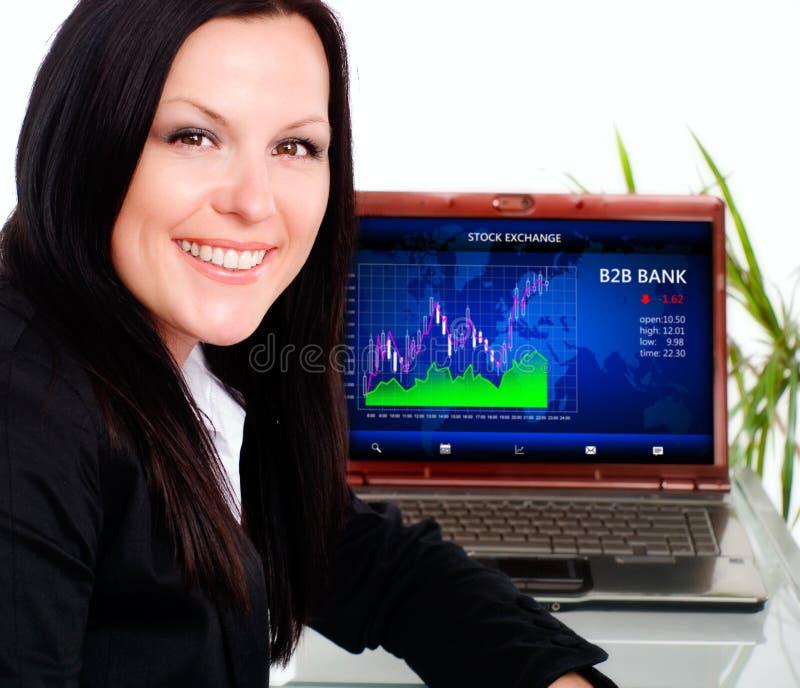 微笑的深色的女实业家在有膝上型计算机的办公室 库存照片