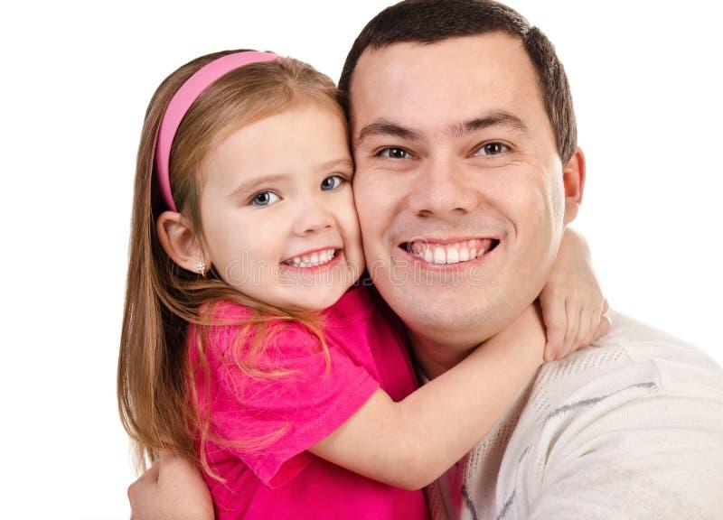 微笑的父亲和女儿纵向查出 免版税库存图片