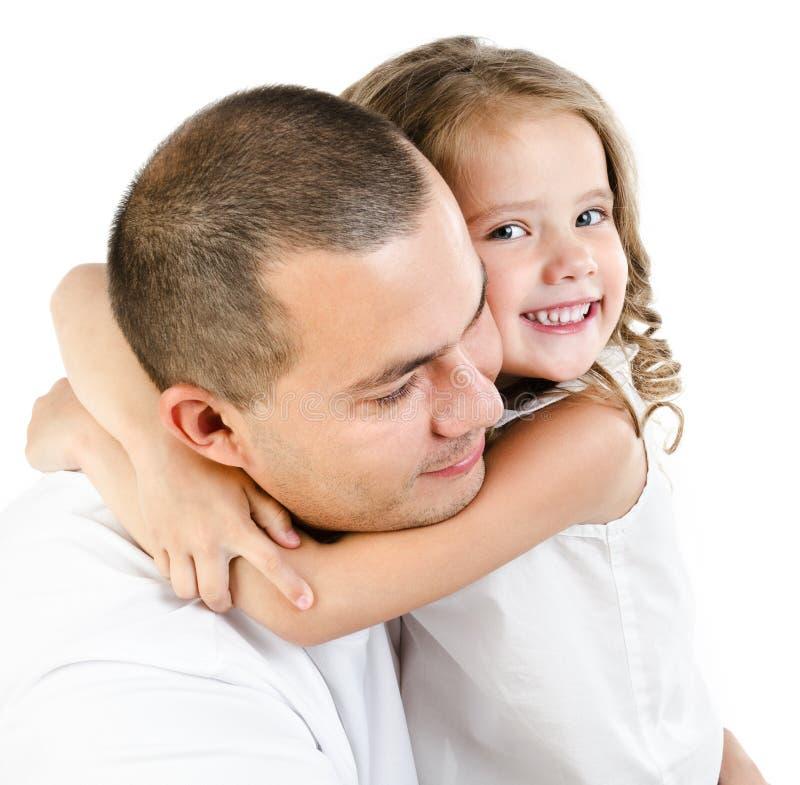 微笑的父亲和女儿纵向查出 库存图片
