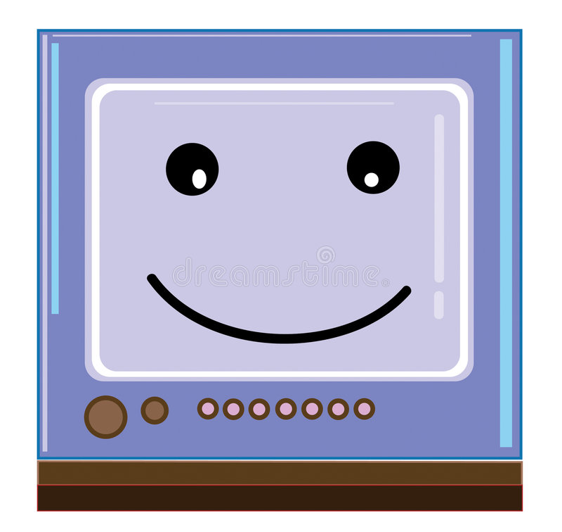 微笑的电视 向量例证